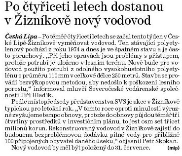 Deník ČL Žíznikov vodovod Skokan 130530