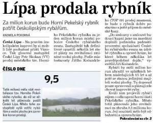 Článek v Deníku 10. prosince 2012